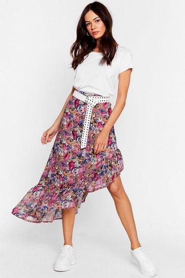 Mauve Plant Quit You Baby Floral Midi Skirt