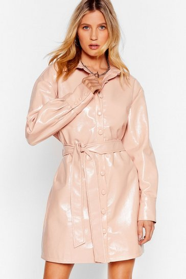 Nude Your Vinyl Chance Mini Shirt Dress