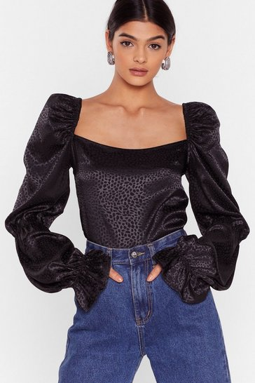 Black We Wonder Tie Satin Puff Sleeve Blouse