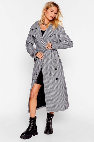 Black Moment of Houndstooth Belted Trench Coat