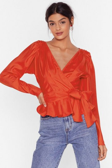 Orange Tied Up Pleated Wrap Blouse