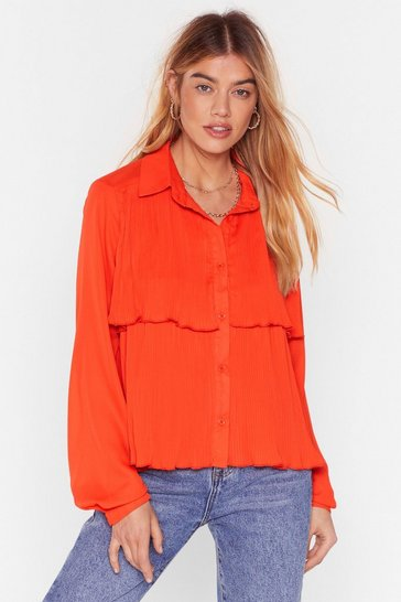 Orange Tier For It Pleated Layered Blouse