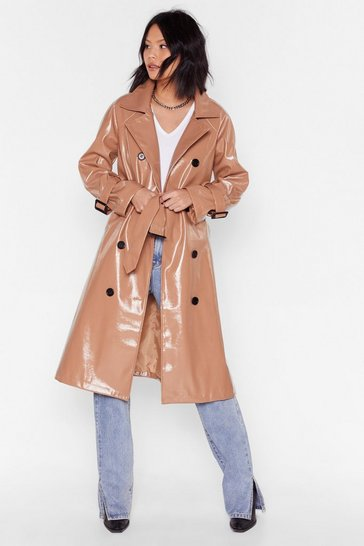 Camel Vinyl Countdown Belted Trench Coat