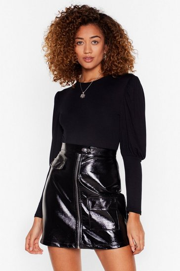 Black Crew Neck Jersey Bodysuit with Puff Sleeves