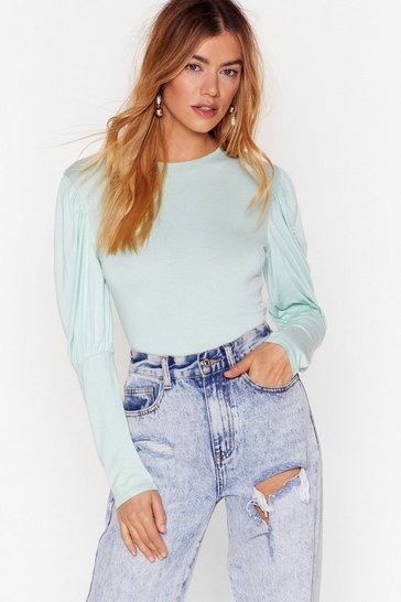 Sage Crew Neck Jersey Bodysuit with Puff Sleeves
