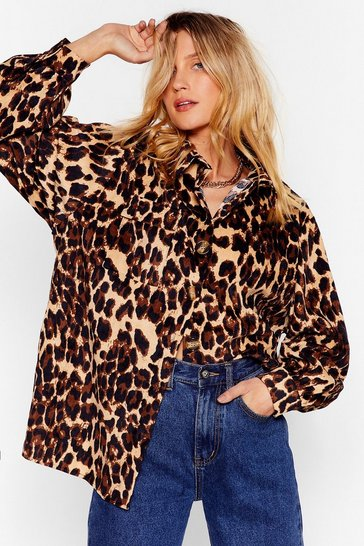 Brown Wild About You Corduroy Leopard Shirt