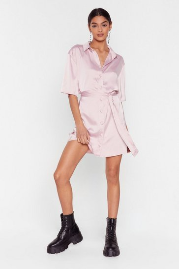 Blush Talk Shirty to Me Satin Mini Dress