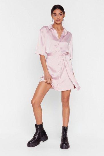 Blush Talk Shirty to Me Satin Mini Dress