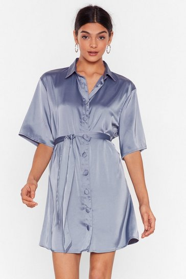 Denim-blue Talk Shirty to Me Satin Mini Dress