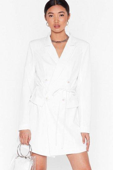 Ivory Double-Breasted Mini Blazer Dress