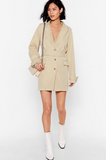 Stone Game Changer Belted Blazer Dress
