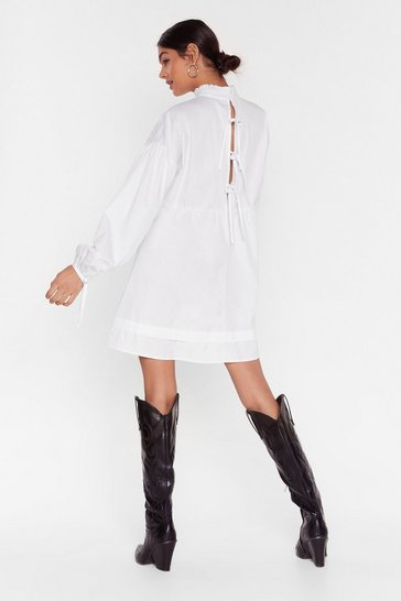 White If You Never Tie High Neck Mini Dress