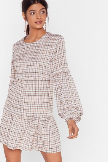 Brown In Check Ruffle Mini Dress