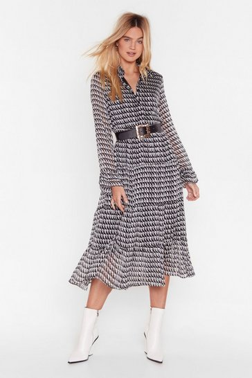 Black Houndstooth It Going Chiffon Midi Dress