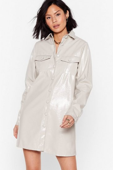 Mushroom Vinyl Mini Shirt Dress with Button-Down Closure
