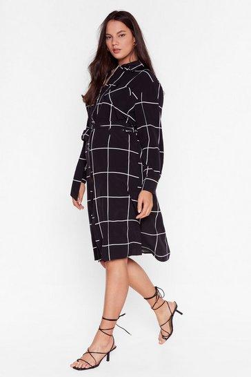 Black Windows Into the Check Plus Midi Dress