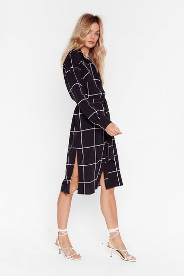 Black Windows Into the Check Midi Dress
