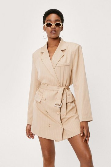 Camel Pinstripe Belted Blazer Dress