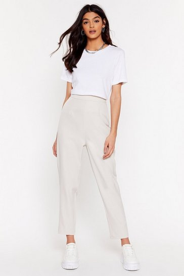Stone Suit Up High-Waisted Tapered Pants