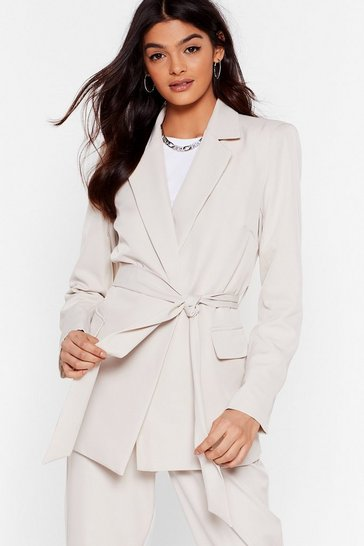 Stone Suit Up Longline Belted Blazer