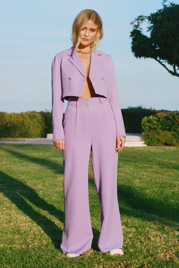 Lilac All Worked Out Belted Wide-Leg Pants