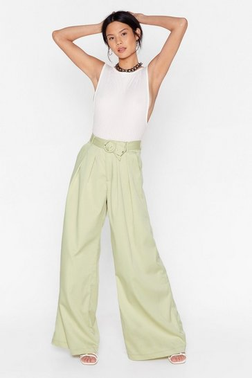 Mint One Hell of a Wide-Leg Belted Pants