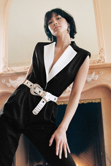 No Tux Given Monochrome Belted Jumpsuit, Black