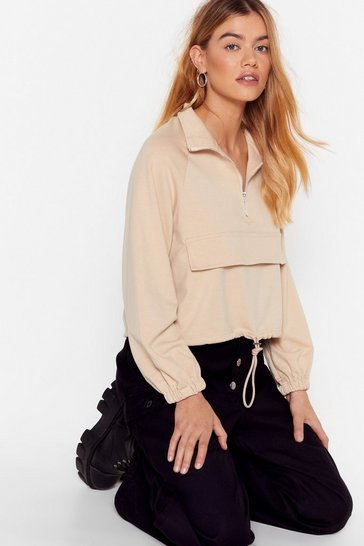 Beige Zip to the Good Bit High Neck Cropped Sweatshirt