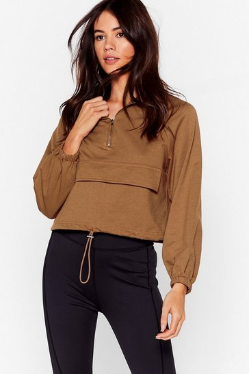 Camel Zip to the Good Bit High Neck Cropped Sweatshirt