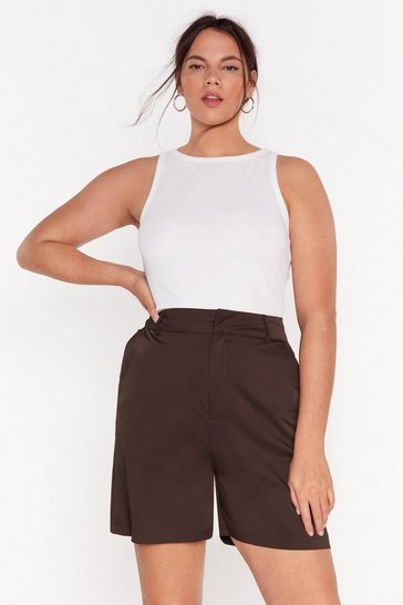 Brown Plus Size High Waisted Boyfriend Tailored Short