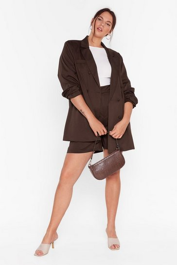 Brown Get Out of My Business Plus Satin Blazer
