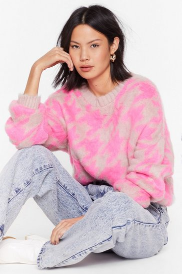 Pink Houndstooth is Now Fluffy Knit Sweater