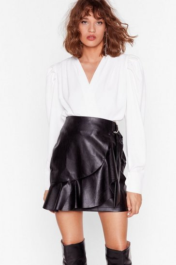 Black Faux Leather Saw It Coming Ruffle Mini Skirt