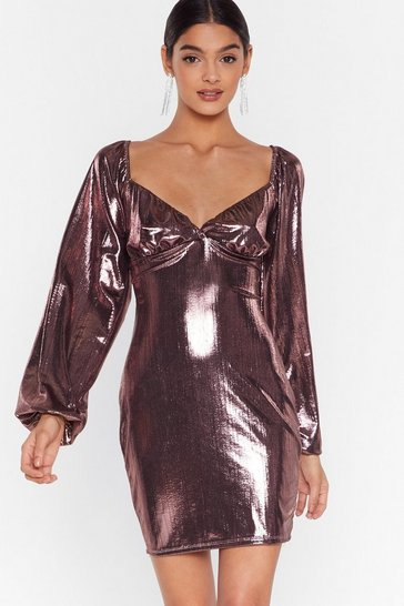 Rose gold Bust Can't Get Enough Metallic Mini Dress