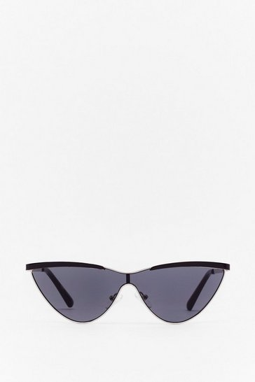 Silver Heat Rises Metal Cat-Eye Sunglasses