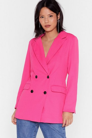 Pink Don't Tell 'Em Your Business Double-Breasted Blazer
