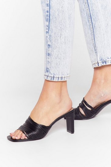 Black String Me Along Square Toe Mules