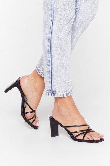 Black Mule Up Strappy Faux Leather Mules