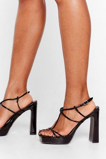Black Reach New Heights Strappy Platform Heels