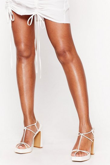 White Strappy to Know You Faux Leather Platform Heels