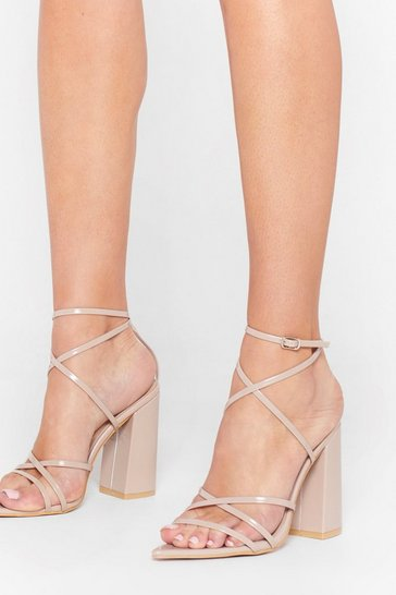 Nude Pointed Strappy Block Heels