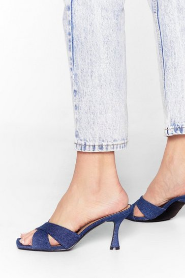 Denim Spring in Your Step Kitten Heel Mules