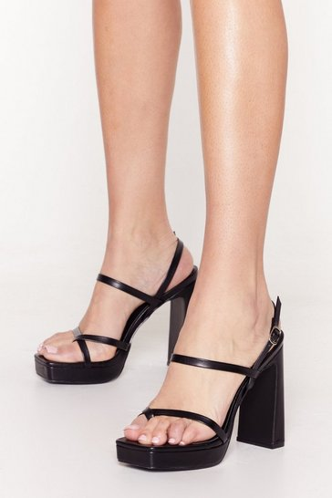 Black Lift Me Up Patent Platform Heels