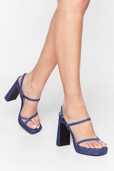Lift Me Up Denim Platform Heels