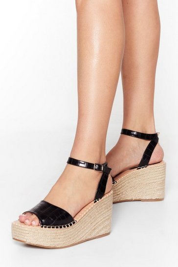 Black Croc With You Woven Wedge Sandals