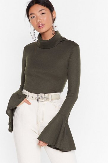 Khaki As if We'd Flare Turtleneck Ribbed Top