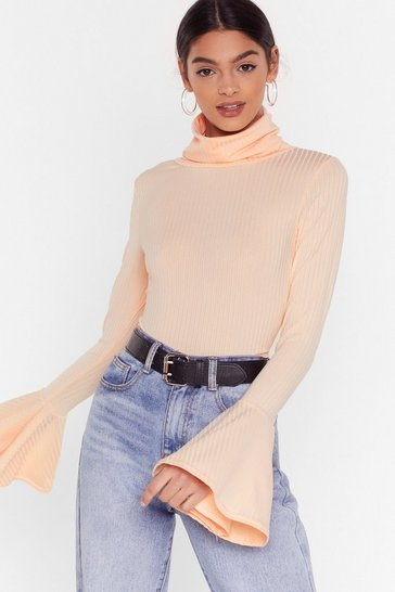 Nude As if We'd Flare Turtleneck Ribbed Top
