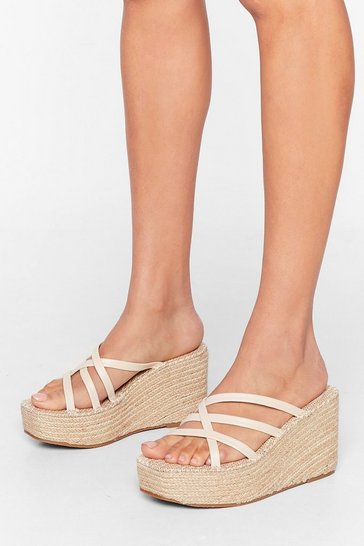 Beige Up Hill Climb Espadrille Wedges