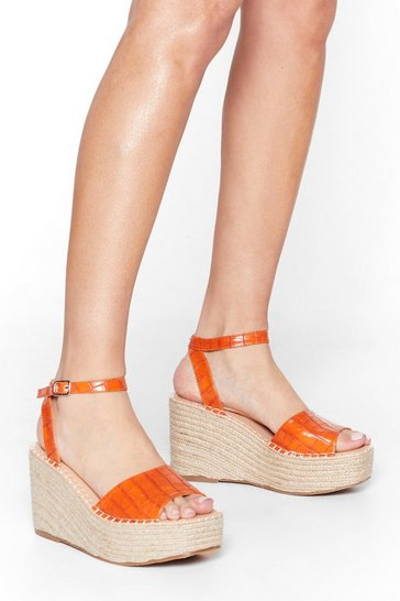 Orange Croc With You Woven Wedge Sandals