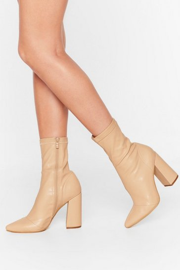 Nude Ridin' High Faux Leather Sock Boots